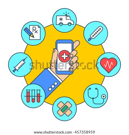 A man gets first aid by phone. Online medicine and health flat line concept illustration. Human hand holding smartphone with cross on the screen. There are medical icons around. Vector infographic set