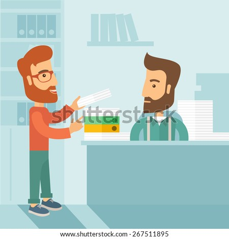 A man giving a paper work to do to other man, stressful man in office with stack of paper on his desk. Business concept in overload work and very busy. A contemporary style with pastel palette soft - stock vector