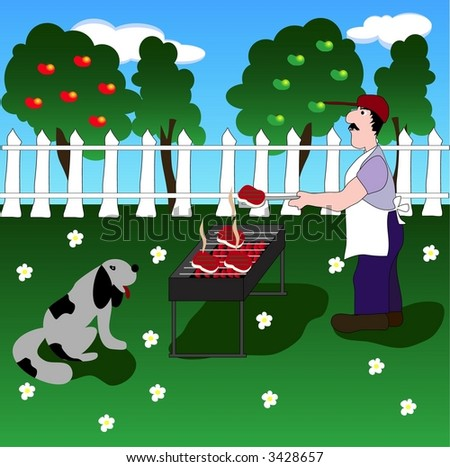 A man grilling stakes on outdoor barbecue - stock vector