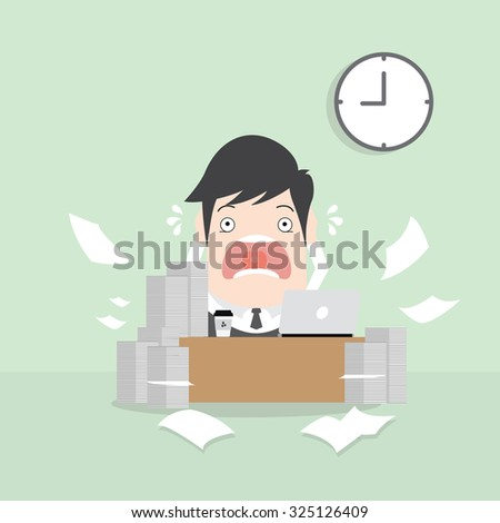 A  man has a lot of works to do with those papers infront of him, problem on how to meet the deadline of his report. Disappointment concept. A contemporary style with pastel palette - stock vector