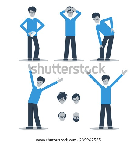 A man having stomach ache, headache, knee and back ache. Recovered from pain. - stock vector