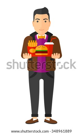 A man holding a tray full of junk food vector flat design illustration isolated on white background. Vertical layout. - stock vector