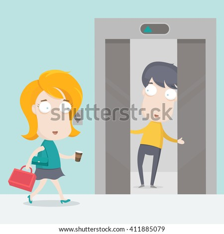 A man holding the elevator for a woman - stock vector