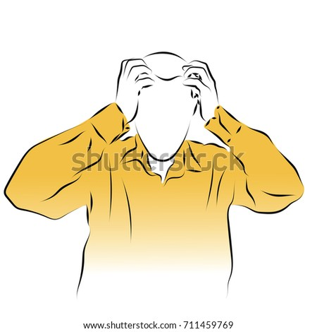 A man holds his head with his hands. Colored vector illustration of a pain in the head, migraine, stroke, influenza, pressure.
