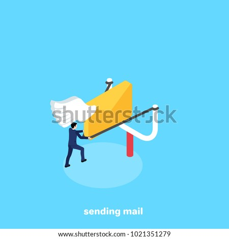 a man in a business suit sends a letter using a slingshot, an isometric image