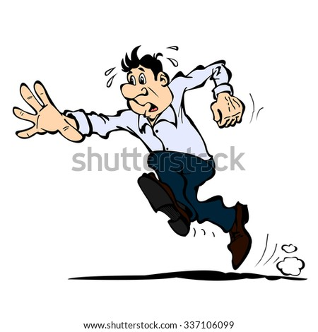 A man in a shirt and trousers runs forward, isolated on a white - stock vector