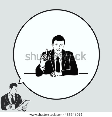 A man in a suit shows a sign of the index finger up. Businessman holds a meeting. Vector illustration.