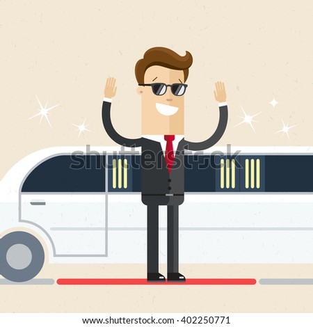 A man in evening dress came out of a limo on the red carpet. Presentation, event, party. Flat, vector, illustration - stock vector