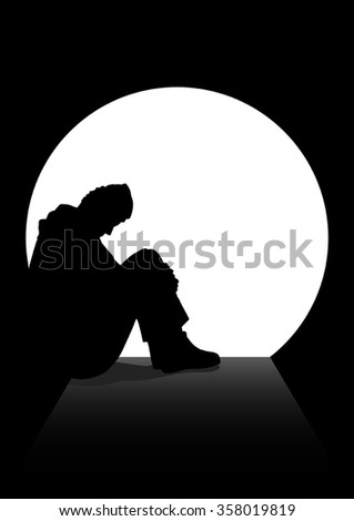 A man in silhouette sitting on the ground in a dark tunnel. - stock vector