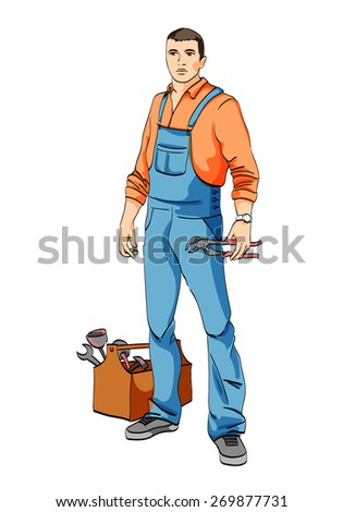 A man in uniform plumber mechanic tool - stock vector