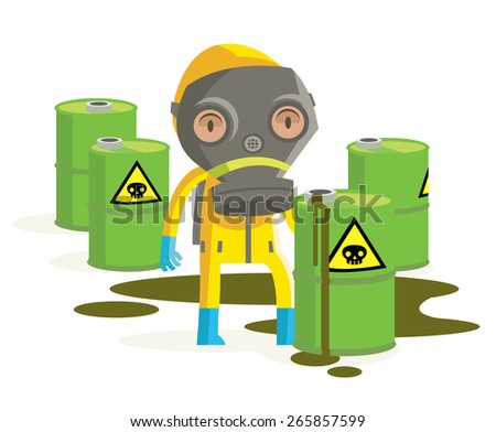 a man inside a protective biohazard suit trying to fix dangerous containers - stock vector