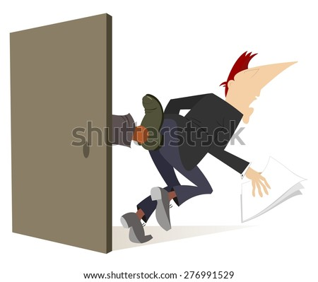 A man is given a kick in the ass - stock vector
