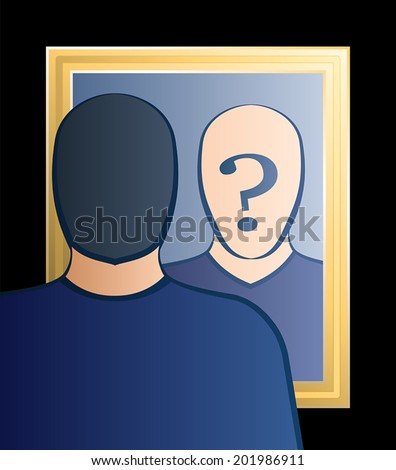 """A man is looking into the mirror asking himself """"Who am I?"""". In his face there is a big question mark to bring ones consciousness into question. Vector illustration. - stock vector"""