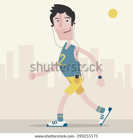 A man jogging in the city, listening to music through headphones connected to his smartphone - stock vector