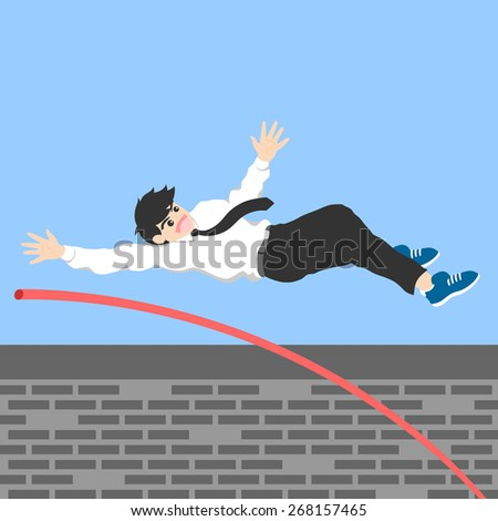 A man jumps over the wall, outside comfort zone to get new experience, fun and excited. Life begins when trying different things - stock vector