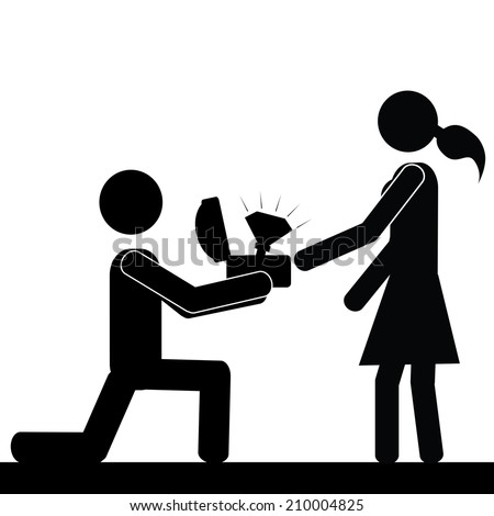 A man kneels in front of a girl. It is a stick figure vector. EPS10  - stock vector