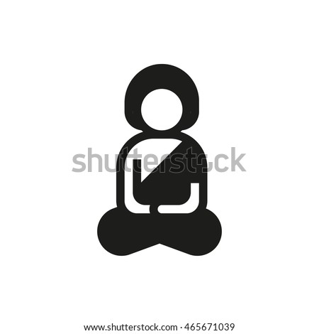 A man meditating in lotus pose icon on white background Created For Mobile, Web, Decor, Print Products, Applications. Icon isolated. Vector illustration