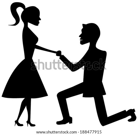 A man on his knees, proposing to marry the girl / Marriage proposal. vector art image illustration, black silhouette isolated on white background, eps10 - stock vector