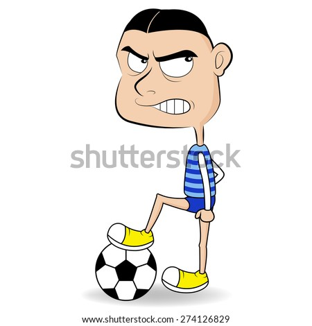 A man playing football ball Isolated on White Background - stock vector
