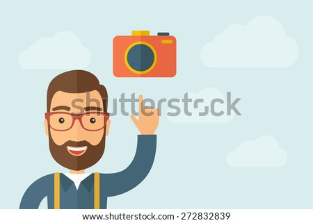 A man pointing the camera icon. A contemporary style with pastel palette, light blue cloudy sky background. Vector flat design illustration. Horizontal layout with text space on right part. - stock vector