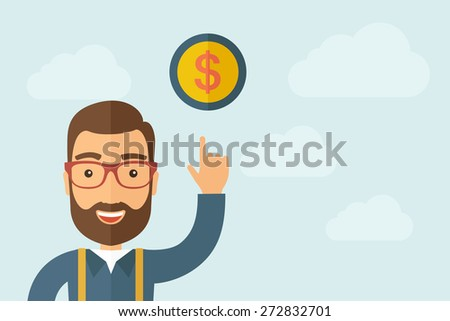 A Man pointing the dollar coin icon. A contemporary style with pastel palette, light blue cloudy sky background. Vector flat design illustration. Horizontal layout with text space on right part. - stock vector