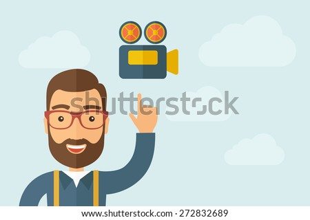 A Man pointing the film strip icon. A contemporary style with pastel palette, light blue cloudy sky background. Vector flat design illustration. Horizontal layout with text space on right part. - stock vector