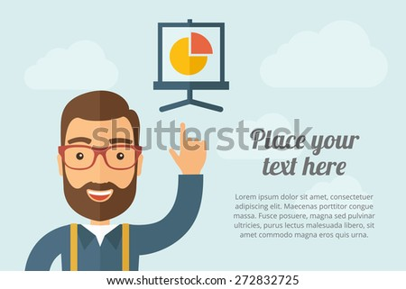 A Man pointing the graph chart icon. A contemporary style with pastel palette, light blue cloudy sky background. Vector flat design illustration. Horizontal layout with text space on right part. - stock vector