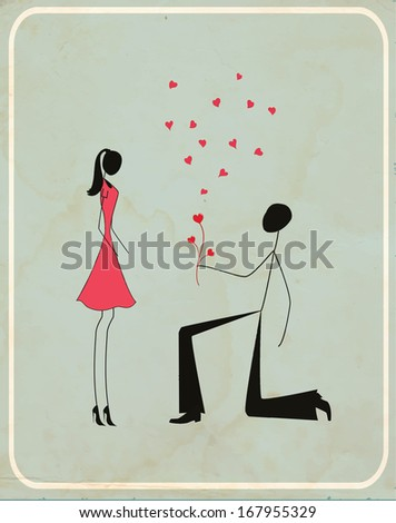 A man proposing to a woman on a retro spotted background - stock vector