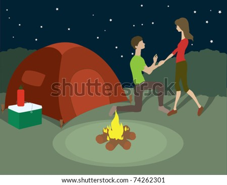 A man proposing to his lady on a camping trip. - stock vector