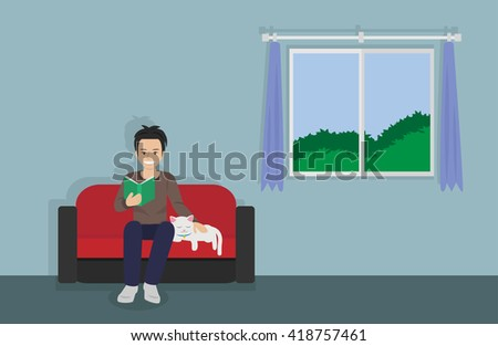 a man reading a book on sofa with sleeping cat at home. vector