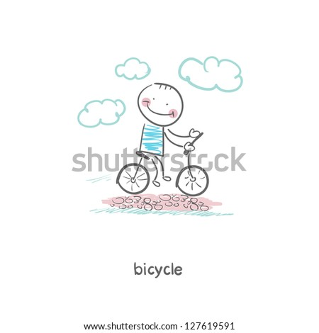 A man rides a bicycle. Illustration. - stock vector