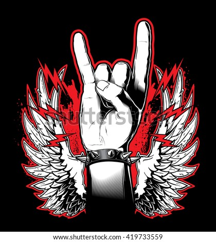 A man's hand showing the Rock and Roll sign. Vector illustration - stock vector