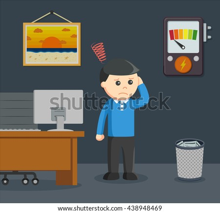 a man see his home power to turn on the light low - stock vector
