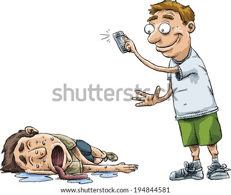 A man snaps a photo of another man who is passed out drunk. - stock vector