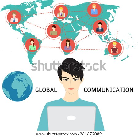 A man using internet to communicate with his friends, colleagues, alliances, family and etc. from anywhere. Global  communication. - stock vector