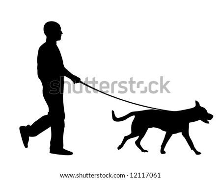 A man walking his dog - stock vector