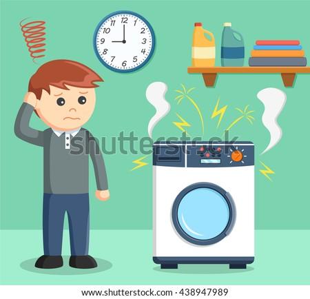 A man was sad because her washing machine broke - stock vector