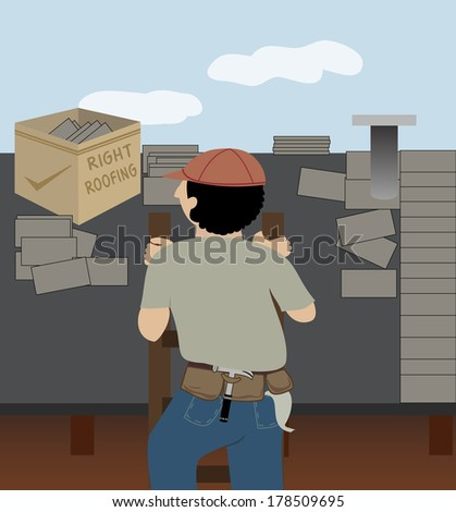 A man whose job is roofing climbs a ladder to go to work/The Roofer - stock vector