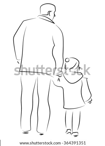 a man with a child holding hands - stock vector