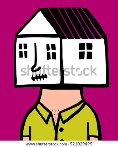 a man with a house instead of a head