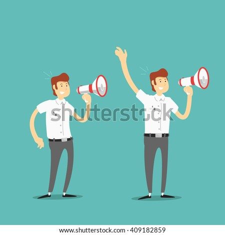 a man with a megaphone in different poses. Vector illustration.