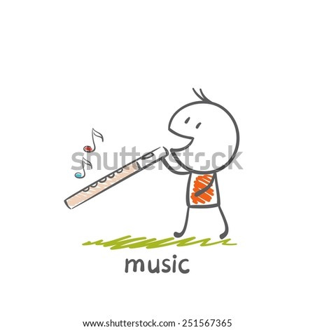 a man with a musical instrument flute illustration - stock vector