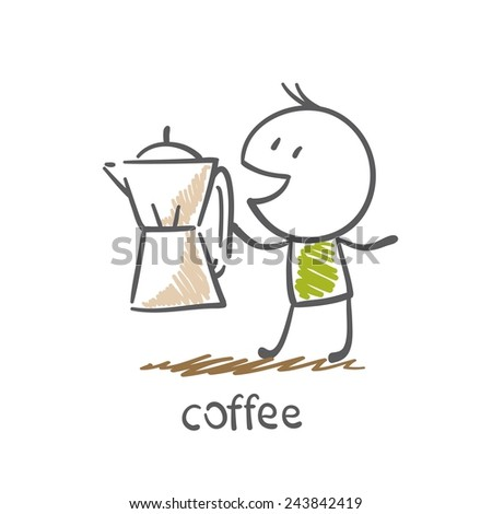 a man with a pot of coffee illustration - stock vector