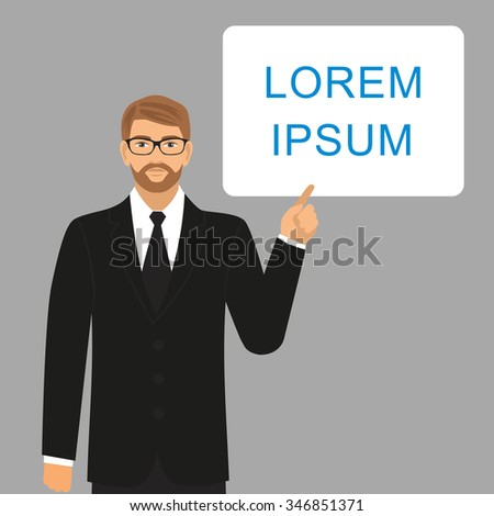 a man with glasses and a suit pointing to a blank sheet.businessman holding empty white placard showing copy space holding empty white placard showing copy space - stock vector