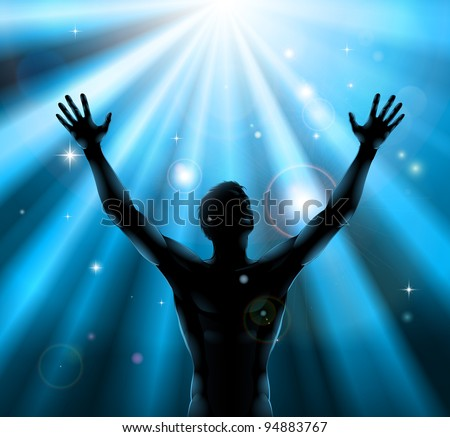 A man with hands held up in silhouette with light rays in the background - stock vector