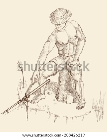 A man with rod fishing on a shore - stock vector