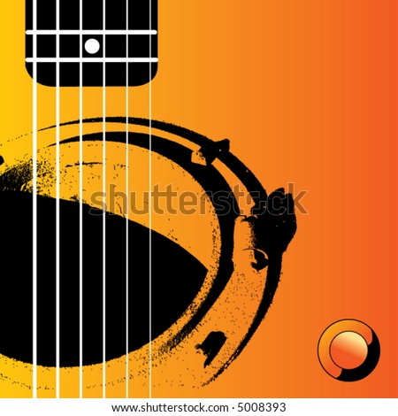 A manhole functions as sound hole in this grunge Guitar scene - stock vector