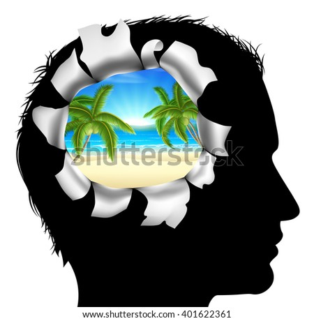 A mans head in silhouette with a tropical beach vacation scene. Concept for thinking or dreaming about a tropical beach vacation - stock vector