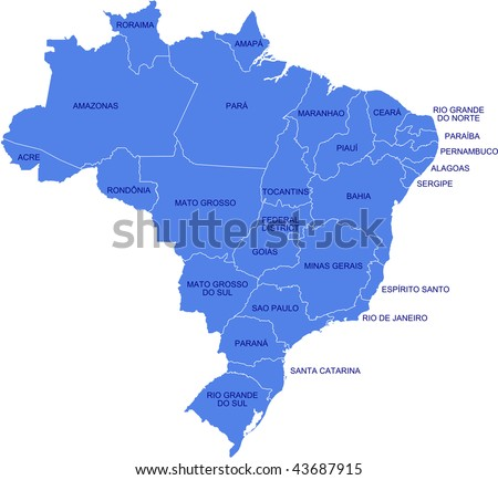 A map as a vector illustration showing the provinces of Brazil and their names. - stock vector