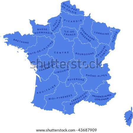 A map as a vector illustration showing the regions of France and their names. - stock vector